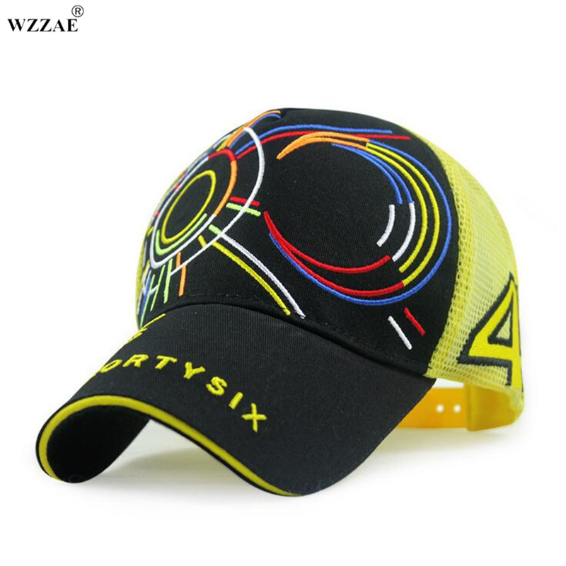 WZZAE 2017 New Rossi Signature VR46 Mesh Hat MOTO GP Motorcycle F1 Baseball Cap Casual Hiphop Men and Women Snapback Caps Bone unisex illest letter hat gorros bonnets winter cap skulies beanie female hiphop knitted hat toucas outdoor wool men pom ball