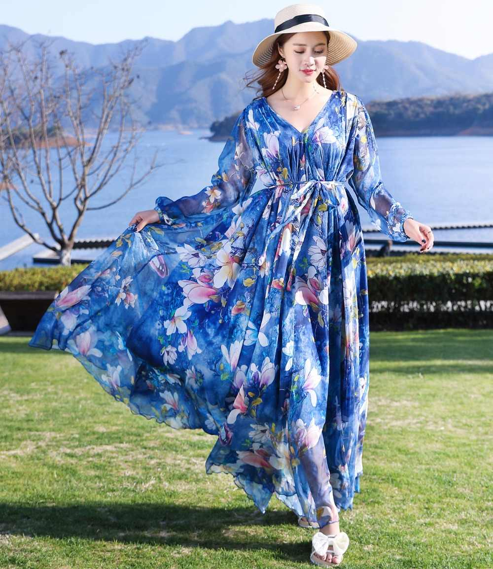 af5613a3e51 ... 2018 New Collection Summer V-Neck Semi-Formal Maxi Party Maxi Dress  Beach Plus ...