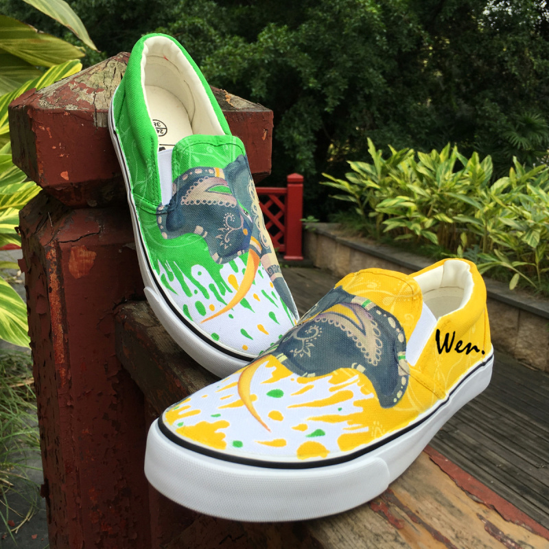 Wen Original Design Slip On Flats Indian Ethnic Totem Elephant Hand Painted Shoes Green Yellow Sneakers Canvas Men Women Pumps wen mexican style skulls totem original design hand painted shoes for men woman slip ons custom canvas sneakers