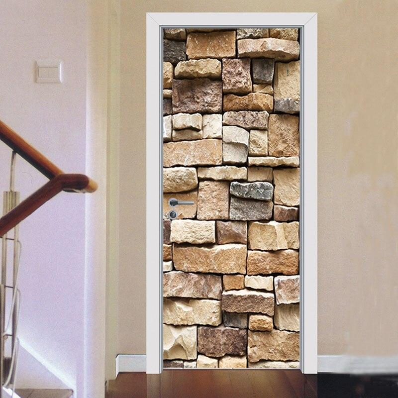 unidsset d textura de piedra puerta diy arte mural pegatinas decoracin del papel
