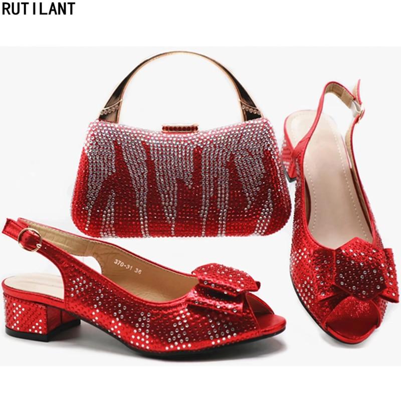 Mode Et bleu Femmes En Ensemble Fête Sac gold 2019 red Chaussures Pompes  Mariage La Chaussure Italiennes