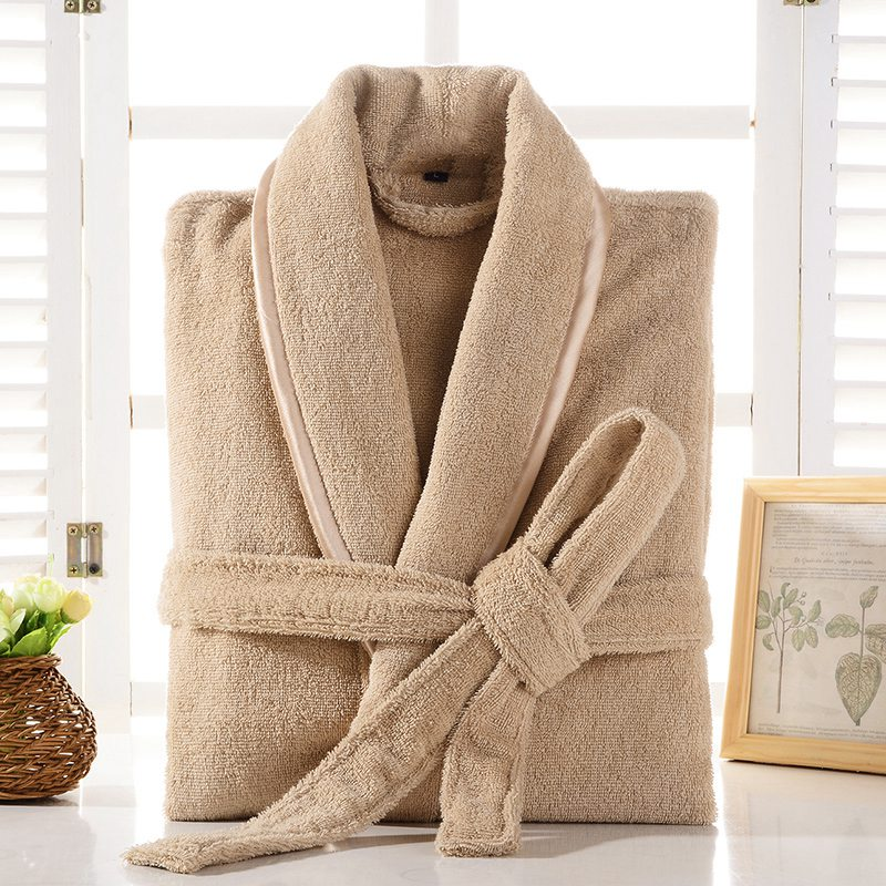 Terry Robe Men 100% Cotton Bathrobe Lovers Brown Robes Men Bathrobe Solid Towel Fleece Long Robe Sleepwear Bridesmaid Robe White(China)