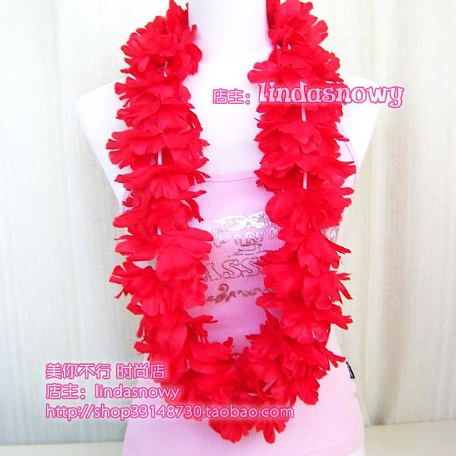 Deluxe hawaii hula skirt props hair accessory garishness neck ring red