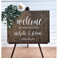 Personalized Wedding Welcome Sign With Bride and Groom Names,Rustic Wedding Welcome Sign Party Decor