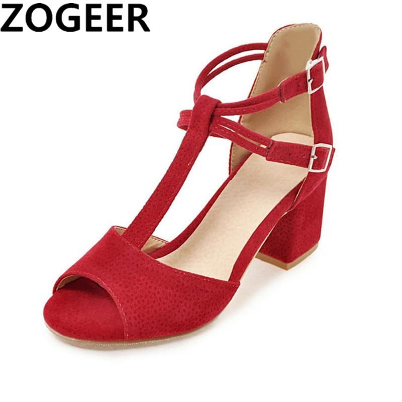 חדש 2018 קיץ נשים סנדלי גלדיאטור נעלי נשים סנדלי העקב עבים בוהן פתוח T רצועות נעלי חתונה ורוד אדום שחור