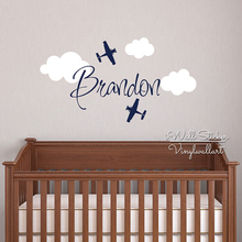 Custom Name Wall Sticker Kids Room Baby Nursery Airplane Name Wall Decal Cut Vinyl Stickers Personalized Children Name C12