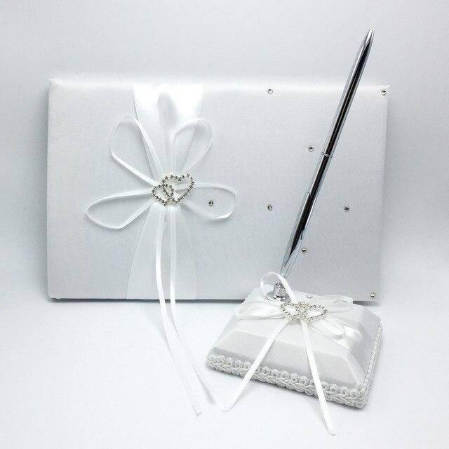 2 Teile/satz Weiß Farben Satin Gästebuch + Pen Set Strass Bowknot ...