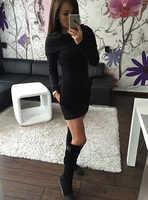 Jesień zima Casual Mini sukienka kobiety Sexy z długim rękawem i kapturem z długim rękawem Bodycon sukienki sukienki i zabawy kobiet pozew o mujer