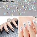 Novo 1000 pçs/saco Glitters Decoração De Cristal Branco AB Strass Arte Do Prego 3d Brilhante Manicure Pregos Beleza Adesivos sobre As Unhas DIY ferramentas