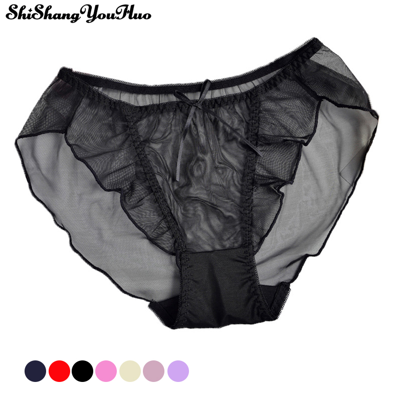 New Sexy Mesh Transparent Underwear Ladies   Panties   Mid Waist Underwear Breathable Comfortable Women's Triangle Briefs Tangas