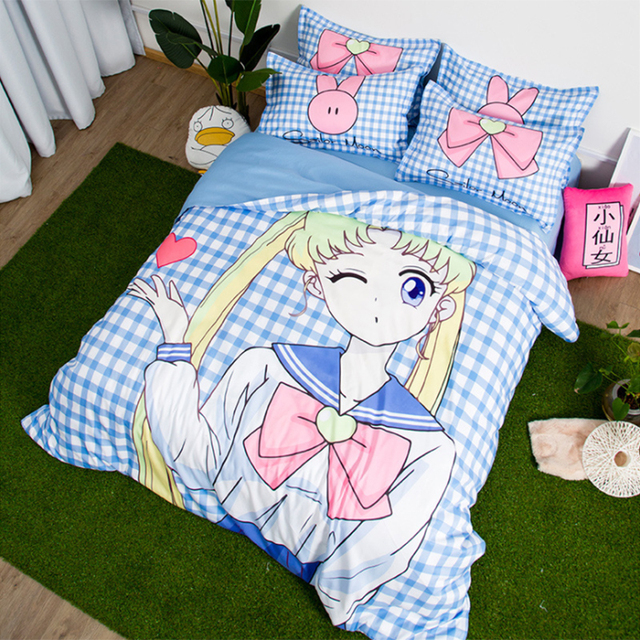 Cute Japanese Anime Sailor Moon Teenage Girls Bedding Set Twin Queen