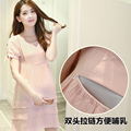 Maternity Dress Wear Breast Feeding Maternity Short-sleeve Nursing Clothing Maternity Clothing Bow dress Nursing Clothes 2016