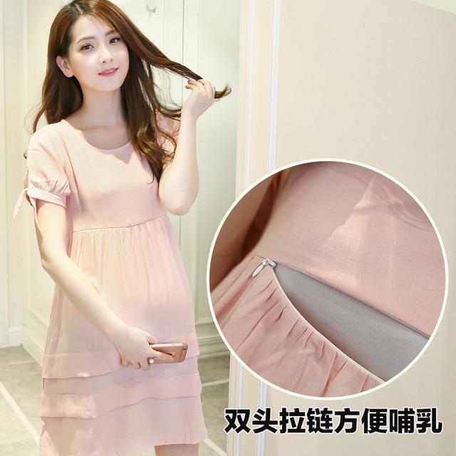 Maternity Dress Wear Breast Feeding Maternity Short-sleeve Nursing Clothing Maternity Clothing Bow dress Nursing Clothes 2016