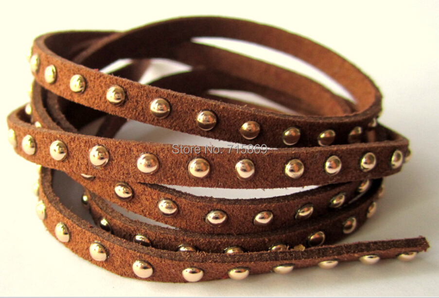 Free Ship 100 Meters Brown 5 x1.5mm w/ Gold Rivet Accents Microfiber Flat Faux Suede LeatherLace Cord For DIYJewelry