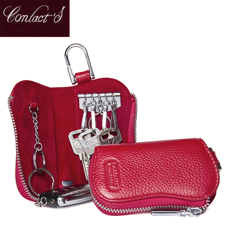 New Casual 100% Genuine Cow Leather Purse Car Key Wallets Fashion Women Housekeeper Holders High Quality Wallets For Female