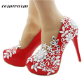 Comwarm Red Bridal Elegant High Heels Handmade Rhinestone Lace Flower Ornamental Women Wedding Round Toe Thin Heel Pump Shoes