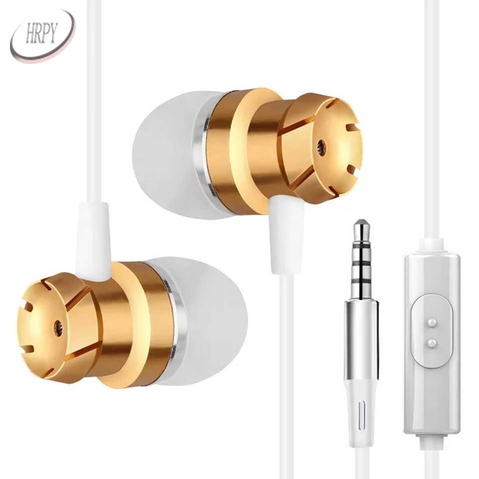 Metalowe słuchawki 3.5mm przewodowe sportowe ciężkich BassStereo dźwięku w ucho słuchawki z mikrofonem do telefonu komórkowego telefon Xiaomi odtwarzacza PC