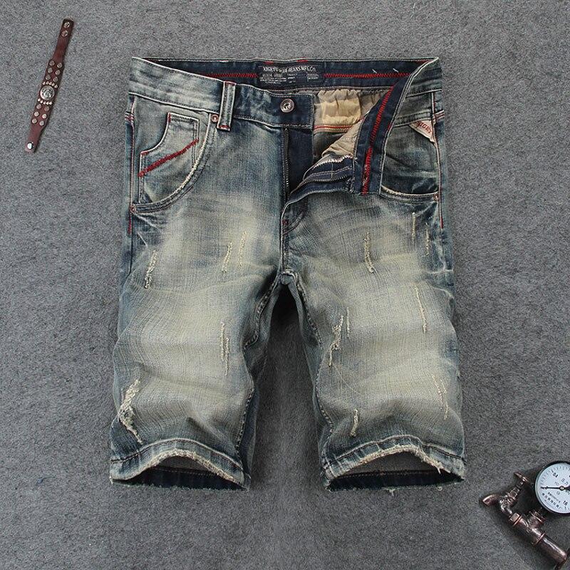 Nostalgia Retro Mens Jeans Shorts Summer Fashion Streetwear Knee Length Denim Shorts Men Brand Youth Casual Short Jeans RL110