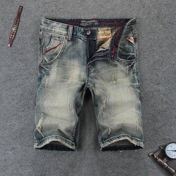 Nostalgia Retro Mens Jeans Shorts Summer Fashion Streetwear Knee Length Denim Men Brand Youth Casual Short RL110