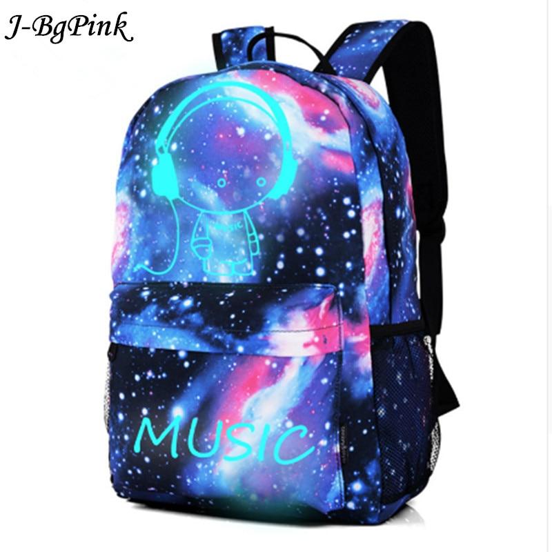 Luminous Backpack Galaxy Canvas Backpacks Boy Cartoon Printing School Bags For Teenage Girls Travel Bag Mochila Escola