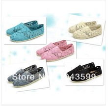 Free shipping Hot women's Classic comfortable Hollow out hook flower crochet shoe Flat casual canvas shoes