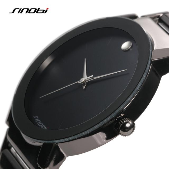 Reloj negro fashión con pulsera de acero inoxidable