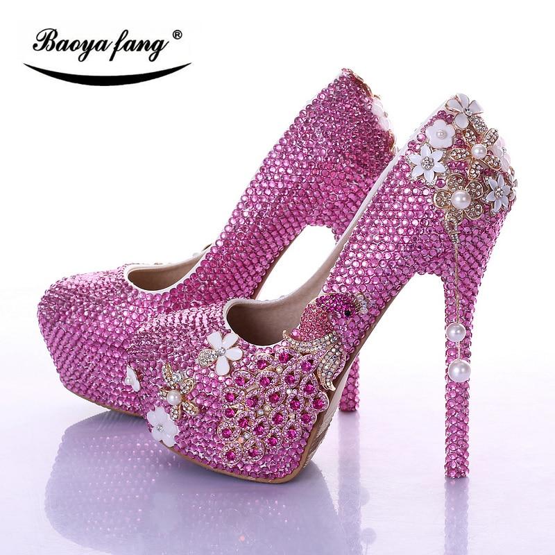 Фотография BaoYaFang Brand Luxury Fuschia crystal Womens Wedding shoes Bride high heels platform shoes Peacock Female party dress shoes