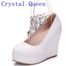 Crystal Queen Ankle Strap High Wedges Platform Pumps Large Size Bridal Shoes Women Crystal Rhinestone Platform Shoes Mary Jane(China)