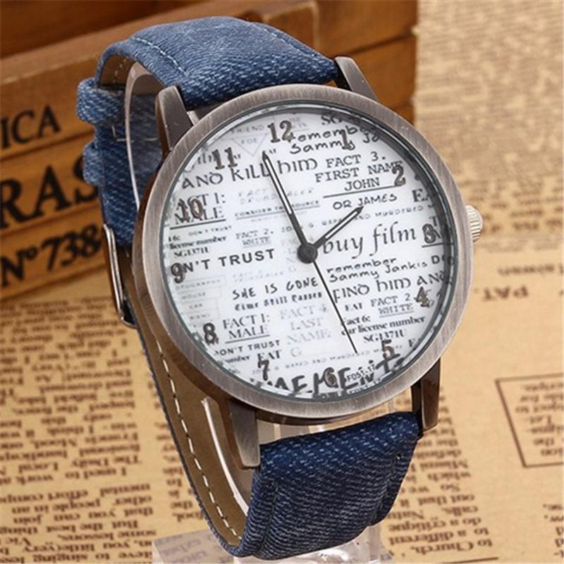 Moda señora mujeres reloj cuarzo de cuero punk style promoción Relogio  feminino vintage retro casual periódico dial reloj 71c1eddd647