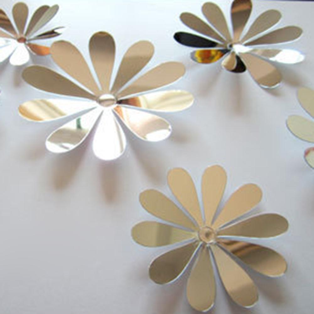 Diy 3d espejo de pared pegatinas decoración del hogar niza flores sticker decor