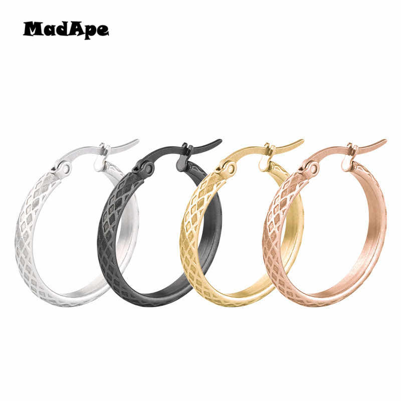 MadApe 2019 New Anti-Allergic Titanium Stainless Steel Hoop Earrings Reticulate Rhombus Hoops Earrings For Women & Men Jewelry