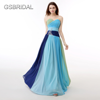 GSBRIDALที่ไม่มีสายหนังรักสายสีฟ้าสีชมพูชุดราตรี