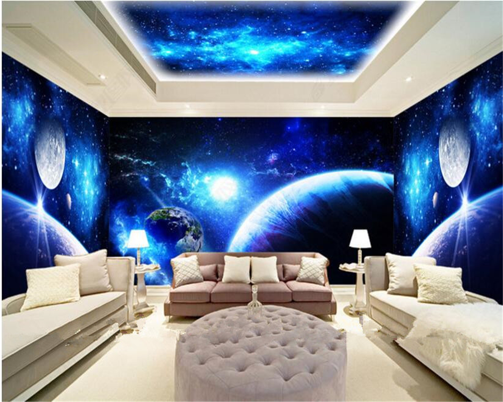 beibehang High quality aesthetic fashion home waterproof wallpaper cool sky theme space ...