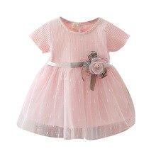 OKALDY 2019 Summer Baby Girls Dress Cute Sweet Bebe Yarn Dresses Infant Girl 0-3T Pink Princess Toddle