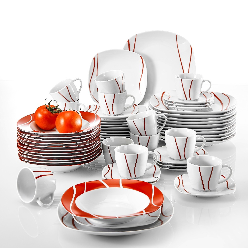 MALACASA Series Felisa 60 Piece Red Stripe Ivory White Porcelain Dinner Set with 12 Piece Cups Saucers Dessert Soup Dinner PlateMALACASA Series Felisa 60 Piece Red Stripe Ivory White Porcelain Dinner Set with 12 Piece Cups Saucers Dessert Soup Dinner Plate