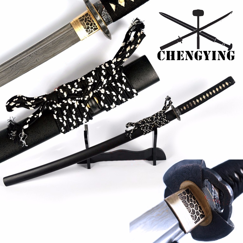 Japonų SAMURAI SWORD KATANA FULL TANG FOLDED STEEL BLADE RAZOR SHARP CUT TATAMI