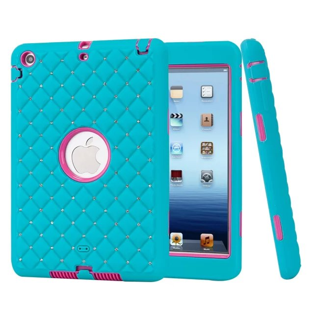 For iPad Mini 2 Case Shiny Diamond Kids Baby Safe Armor Shockproof Heavy Duty Silicone Hard Case Cover for iPad Mini 3 2 1