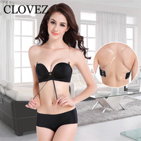 CLOVEZ 2017 Sexy Wire Free Push Up Bra And Panty Sets Women Cotton Convertible Straps Backless