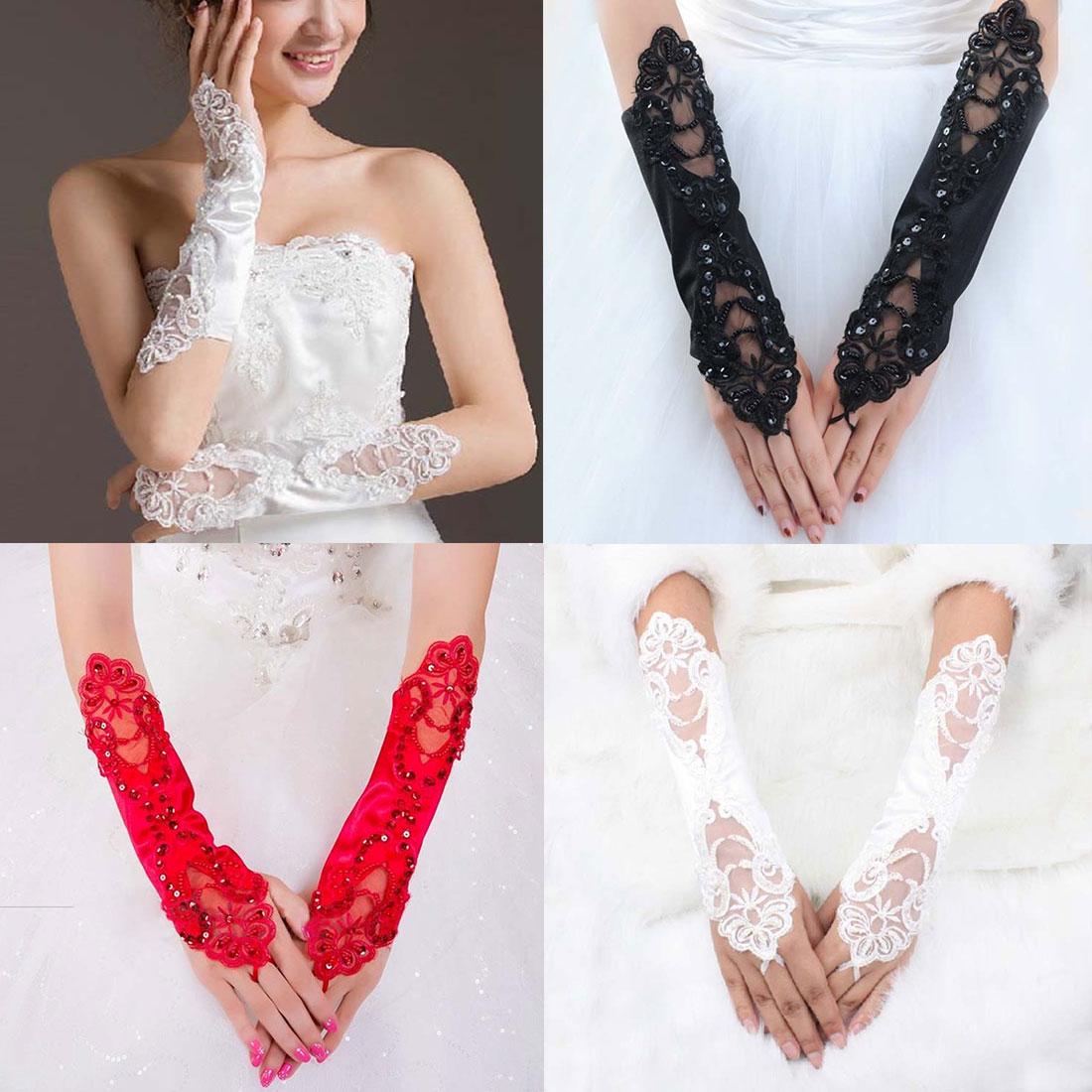 1 Pair Women Bride Long Lace Arm Elbow Gloves Fingerless Black Whites