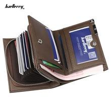Marca Baellerry Hombres carteras de moda nuevo monedero de tarjeta Multifunción billetera de órgano para hombre Billetera de cremallera de borde de hierro con bolsillo de moneda