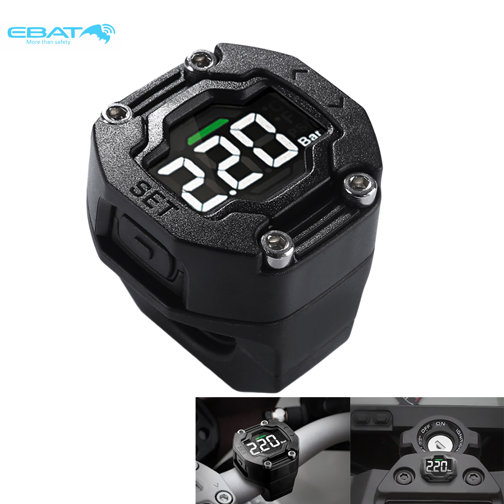EBAT ET-900AE TPMS Tire Pressure Monitoring System LCD Display Motorcycle With Two Wireless External Sensor original spy motorcycle tire pressure monitoring system wireless external tpms sensor lcd display 0 3 5 bar psi
