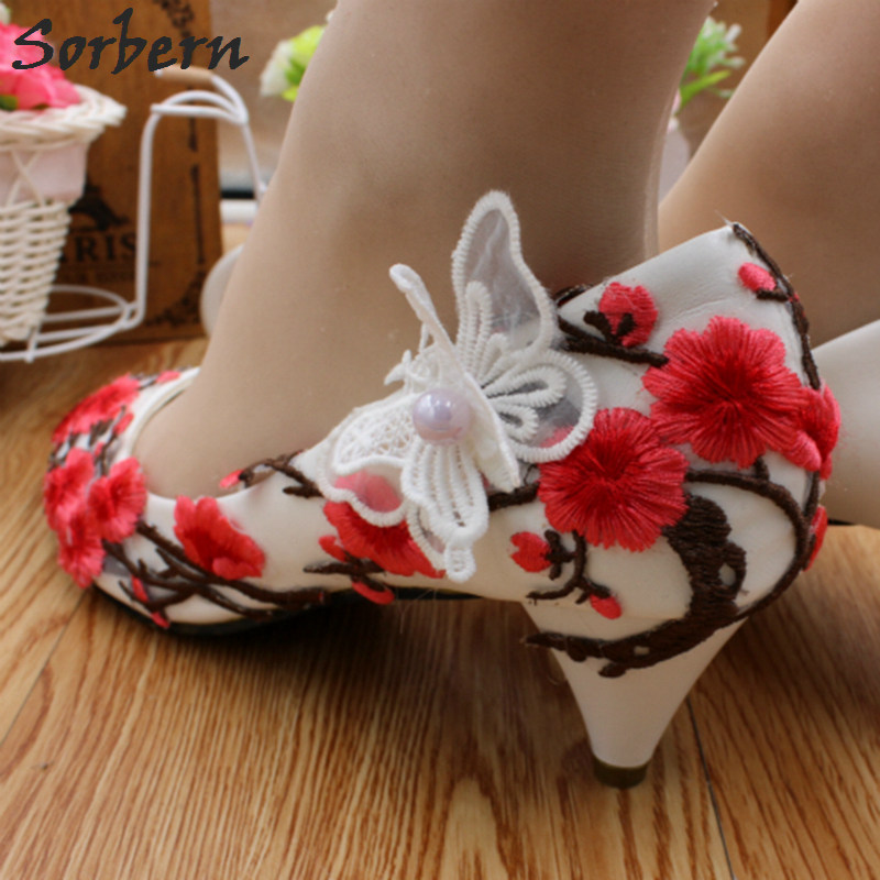 Sorbern Red Plum Blossom Women Shoes Low Heel White Wedding Shoes Flowers Small Heels Comfortable Bridal Shoes Pumps New