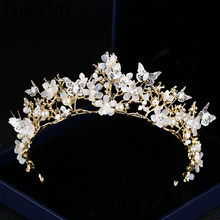 JaneVini Butterfly Flowers Wedding Tiara Crown Silver Crystal Beaded Baroque Headband Pearl Gold Queen Bride Crown Headpieces(China)
