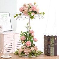 꽃 꽃병 테이블 금속 꽃병 식물 말린 꽃 홀더 꽃 냄비 도로 리드 수국 홈/웨딩 복도 장식 g110
