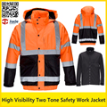 Hi vis two tone fluorescent yellow &orange work jacket safety reflective winter bomber jacket  safety parka