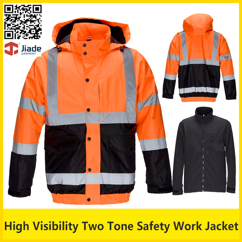 Jiade Hi vis two tone fluorescent yellow &orange work jacket safety reflective winter bomber jacket  safety parka jiade men s garter jiade thickening safety clothes reflective clothing outerwear workwear work wear tooling