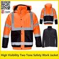 Oi vis two tone amarelo fluorescente & laranja jaqueta de inverno jaqueta bomber parka de segurança refletivo de segurança do trabalho