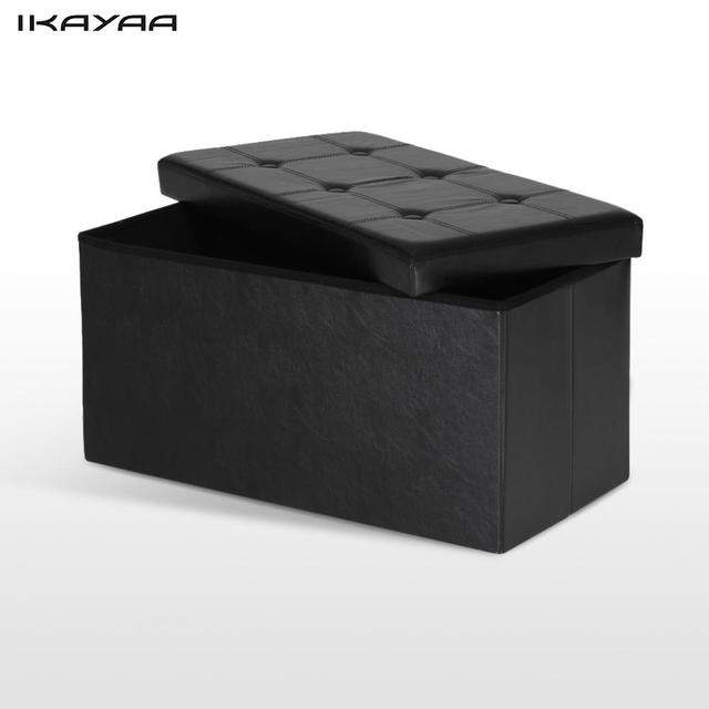 Ikayaa Us Uk Fr Stock Folding Storage Ottoman Bench Large Sofa Foot Rest Stool Pouffe Foldable