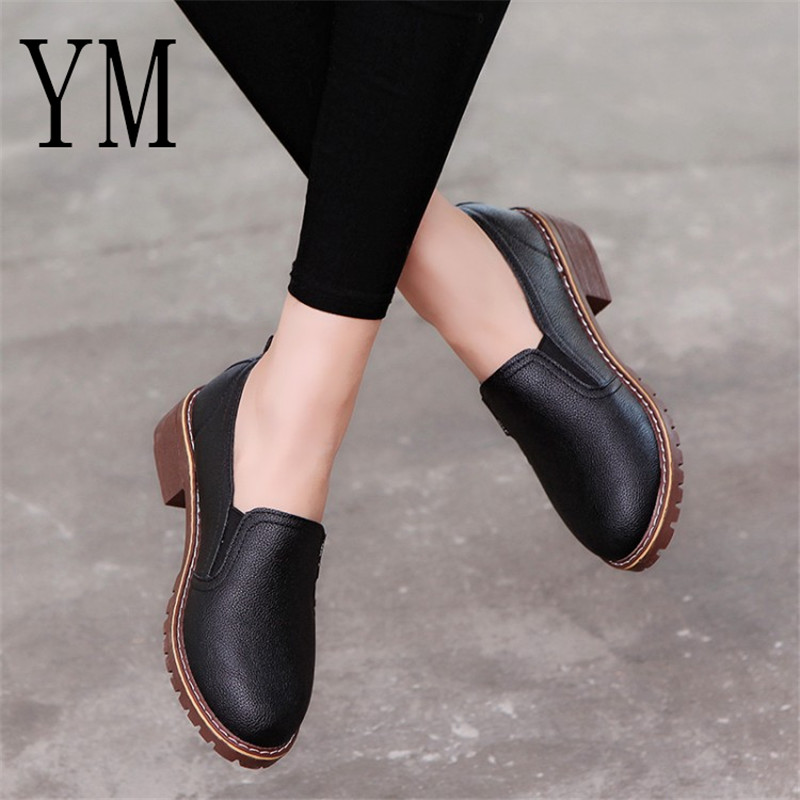 2018 New Style Spring Autumn Women Shoes Round Toe Oxford Shoes Woman PU Women Bullock Shoes Free Shipping