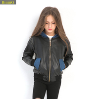 Girl Denim Jacket Fashion Patchwork Leather Coat Autumn New Brand Kids Clothes Girls Jackets Child Outerwear